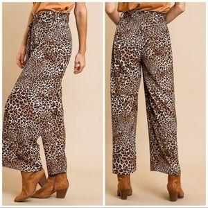 Umgee Pants - Animal Print High Waist Wide Leg Pants